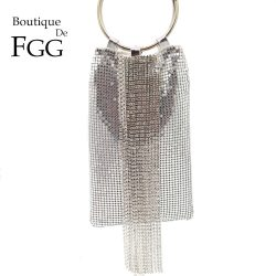Boutique De FGG Dazzling Silver Crystal Tassel Women Aluminum Evening Purse Cocktail Party Wristlets Clutch Handbag