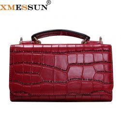 Women Cowhide Leather Clutch Bags Red Crocodile Pattern Handbag Women Shoulder Cross-body Bag Bolsas Wristlet Party Wallets