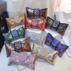 Newest Women Trendy Day Clutch purple envelope bags bowknot Crossbody Bags Ladies Chain Shoulder Messenger Bags 2021