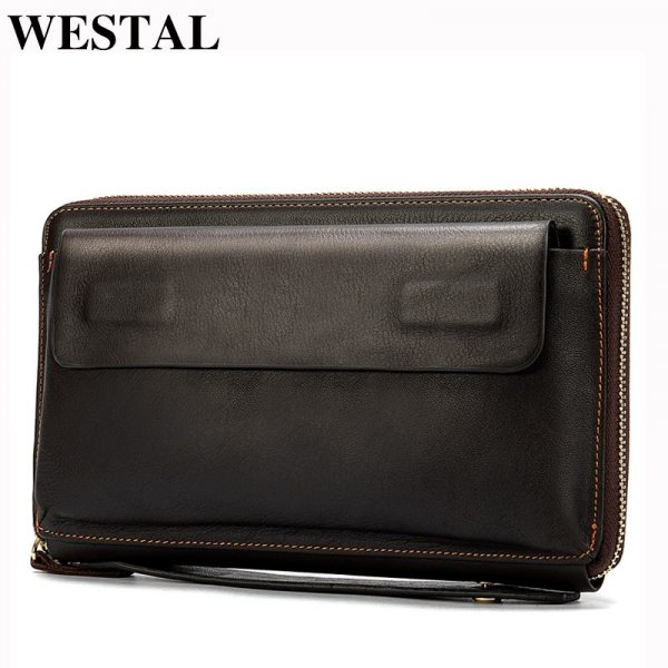 WESTAL Men's Wristlets Genuine Leather Clutch Bags Zip Knucklebox Fashion Evening Bags Large Capacity Wristlets with handle
