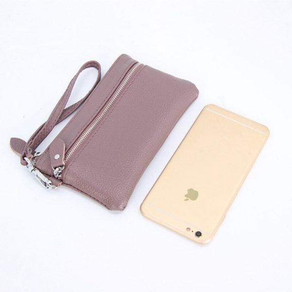 Handbag for Women Genuine Leather Key Case Lichee Pattern Cellphone Pouch Clutch 2020 New Wrist Strap Wallet Female Day Clutches