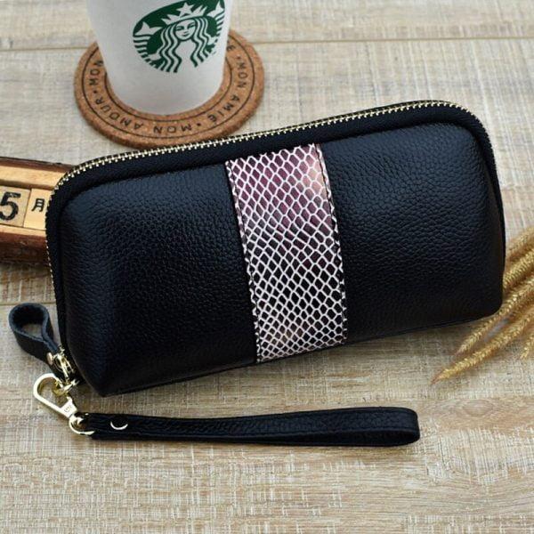 CICICUFF Ladies Genuine Leather Clutch Purses Panelled Long Women Wallet Zipper Wrist Bag Female Coin Purse Mobile Phone Bag