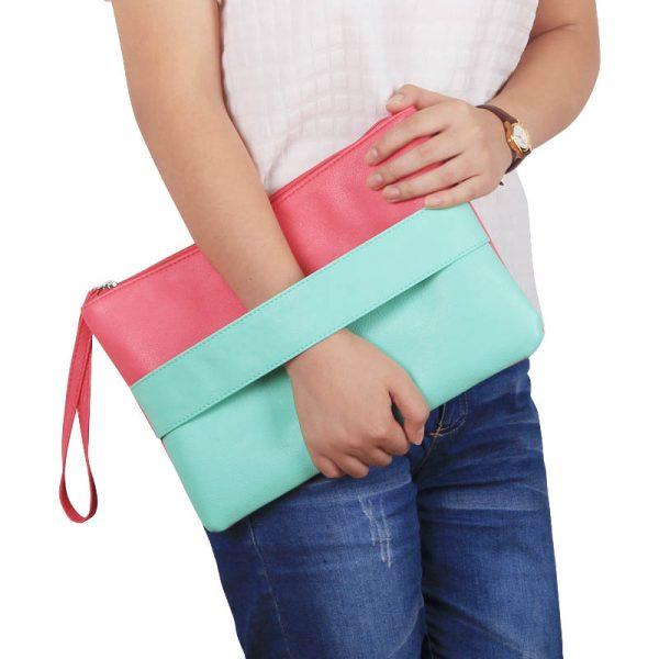 Candy Color Leather Women Bag Day Clutches Handbag Bolsa Feminina Wristlets Bags Ladies Casual Patchwork Wristlet Clutch