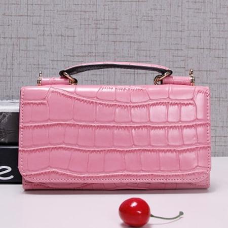 Women Cowhide Leather Clutch Bags Red Crocodile Pattern Handbag Women Shoulder Cross-body Bag Bolsas Wristlet Party Wallets
