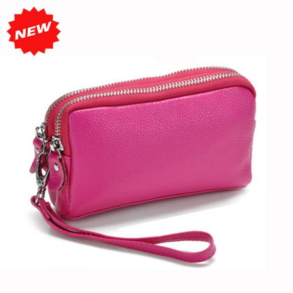 2021 Genuine Leather Women Coin Purse Double Zipper Mobile Bag New Arrival Lady Clutch Wristlet Small Bags