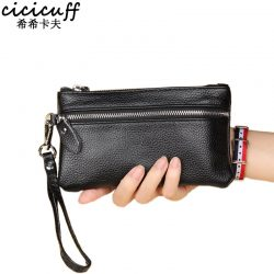 Handbag for Women Genuine Leather Key Case Lichee Pattern Cellphone Pouch Clutch 2020 New Wrist Strap Wallet Female Day Clutches