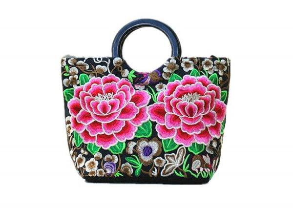 Floral Embroider Ladies Hand Bags Ethnic Tote Bag for Women Casual Wristlet Large Handbags Vintage Woman Shoulder Bags Purses