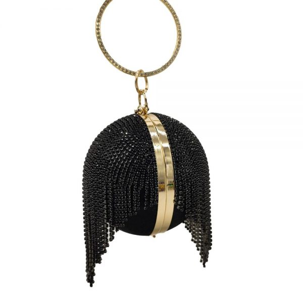 Boutique De FGG Rhinestone Tassel Round Ball Purse Women Black Crystal Clutch Bags Evening Party Cocktail Wristlets Handbags