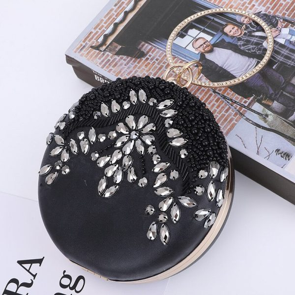 Rhinestone Clutch And Purse For Wedding Pu Leather Top Handle Hand Bags Women Silver Circle Ring Handbag Party Evening Totes