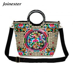 Floral Embroider Ladies Hand Bags Ethnic Tote Bag for Women Casual Wristlet Large Handbags Vintage Woman Shoulder Bags Purses
