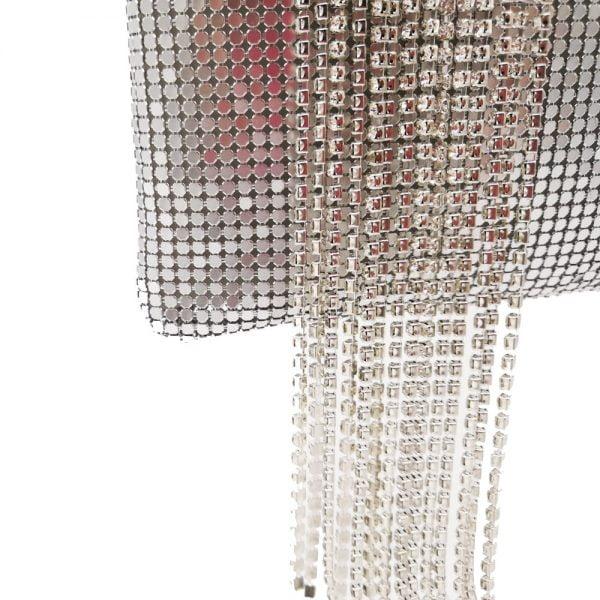 Boutique De FGG Dazzling Silver Crystal Tassel Women Aluminum Evening Purse Cocktail Party Wristlets Clutch Handbag